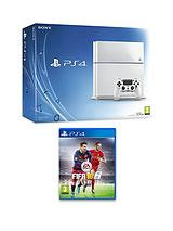 500Gb White Console with FIFA 16 with Optional 12 Months Playstation Plus or Extra Dualshock Controller