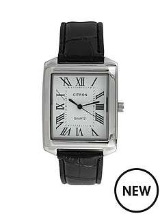 white-dial-black-strap-mens-watch