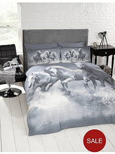 cascade-home-galloping-hores-double-duvet-set-grey