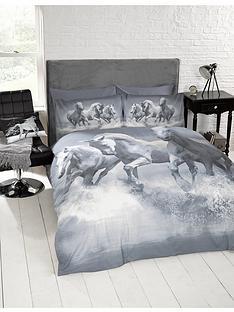 cascade-home-galloping-horses-single-duvet-set-grey
