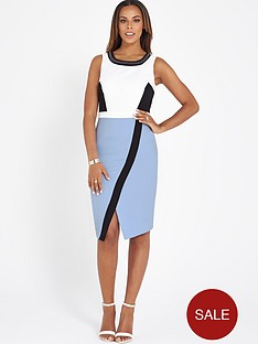 rochelle-humes-colourblock-beaded-neck-dress