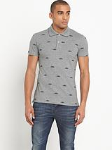 Mens All Over Suede Graphic Polo Shirt