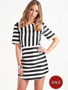 lauren-pope-monochrome-stripe-dress