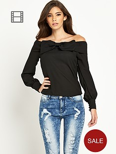 tfnc-bardot-bow-detail-long-sleeve-blouse