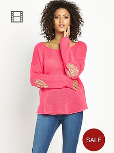 love-label-elbow-patch-jumper
