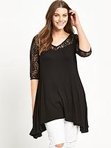 Dipped Side Lace Yoke Tunic Top