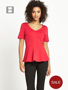 south-peplum-top-red