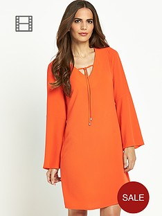 wallis-bell-sleeve-plain-tie-neck-top