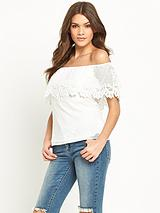 Michelle Keegan Scallop Lace Bardot Top