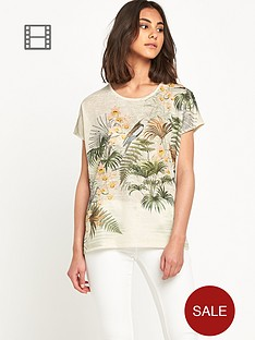 warehouse-exotic-bird-print-tee