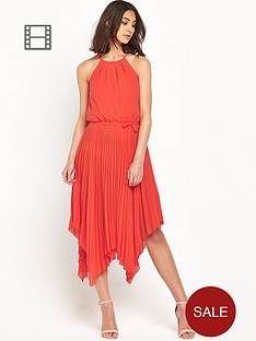 warehouse-hanky-hem-pleated-midi-dress