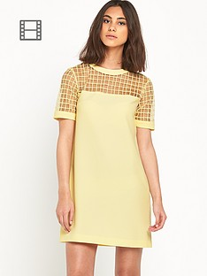 warehouse-fabric-mix-structured-shift-dress