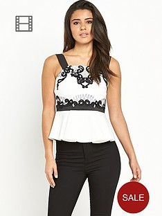 lipsy-mono-embroidered-peplum-top