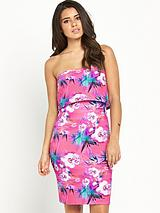 Floral Tiered Bandeau Dress