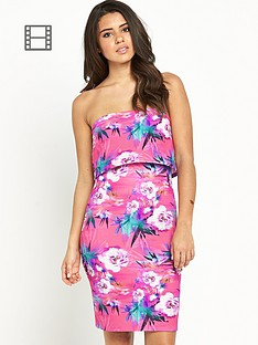 lipsy-floral-tiered-bandeau-dress
