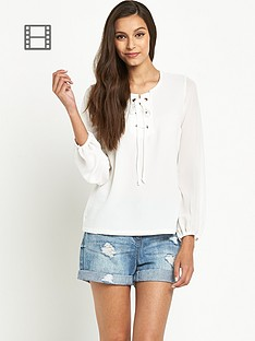 tfnc-colline-long-sleeve-lace-up-top
