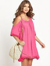 Crinkle Cut Out Shoulder Beachwear Dress