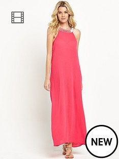 south-jewel-neck-crinkle-maxi-dress
