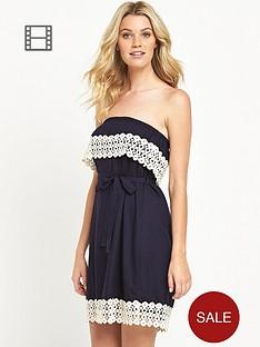 south-bandeau-crochet-trim-dress-navy