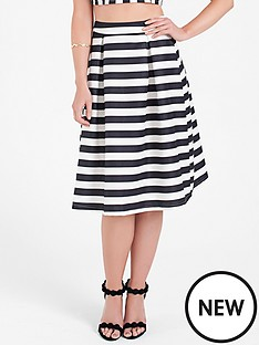 lauren-pope-stripe-monochrome-midi-skirt