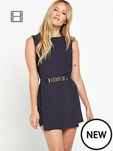 miss-selfridge-navy-tabard-gold-belt-playsuit