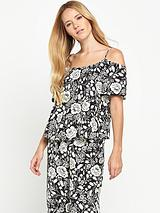 Mono Print Short Sleeved Cold Shoulder Cami