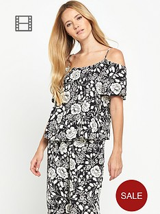 miss-selfridge-mono-print-short-sleeved-cold-shoulder-cami