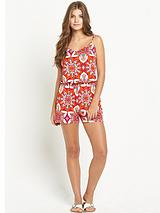 Tile Print Strappy Playsuit