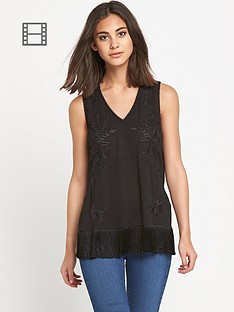 warehouse-tassel-embroidered-vest