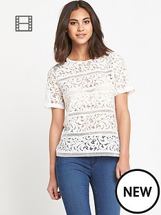 warehouse-lace-panel-t-shirt