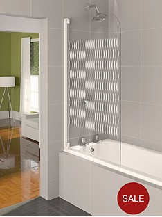 aqualux-aqua-4-half-framed-bath-screen-with-white-frame-finish-and-ribbon-glass-pattern