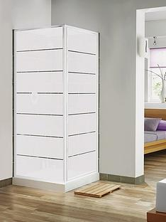 aqualux-pivot-door-and-side-panel-combination-set-with-white-frame-and-frosted-block-pattern