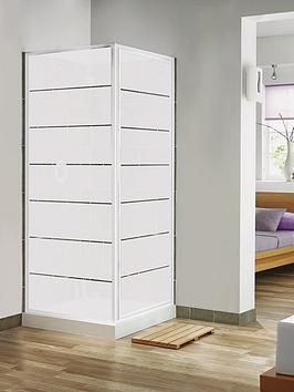 Aqualux Pivot Door and Side Panel Combination Set with White Frame and Frosted Block Pattern