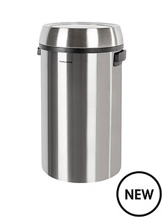 morphy-richards-65l-round-waste-bin-with-swing-lid-stainless-steel