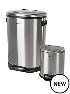 morphy-richards-50l-and-6l-d-shaped-pedal-bins-stainless-steel
