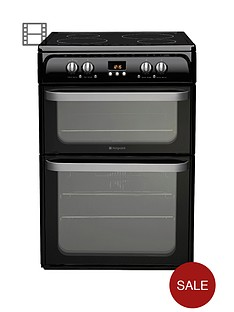 hotpoint-hui614k-60cm-double-oven-electric-cooker-with-induction-hob-black