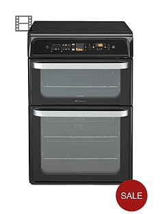 hotpoint-hui62tk-60cm-double-oven-electric-cooker-with-induction-hob-black