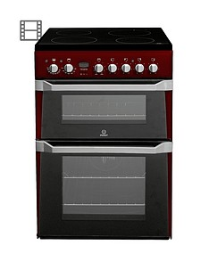 indesit-id60c2r-60cm-double-oven-electric-cooker-with-ceramic-hob-red