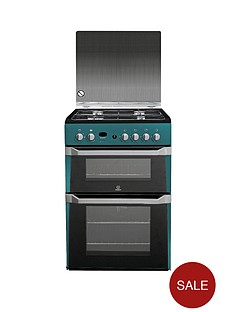 indesit-id60g2n-60cm-double-oven-gas-cooker-with-fsd-green