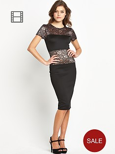 club-l-lace-panel-midi-dress