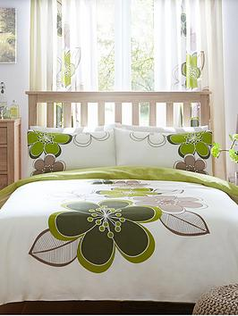 Candice Duvet Cover Set  Green (Twin Pack)