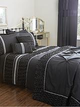 Mia Duvet Cover and Pillowcase Set - Black
