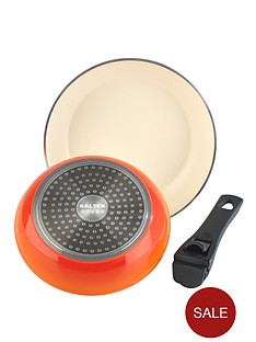 salter-3-piece-frypan-set-with-detachable-handle-orange