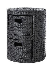 2-drawer-arrow-weave-wicker-storage-chest-black