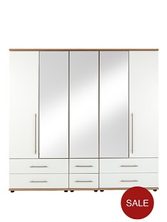 consort-kenton-5-door-6-drawer-mirrored-wardrobe