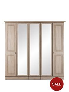 consort-willow-5-door-wardrobe-with-mirror-light-oak