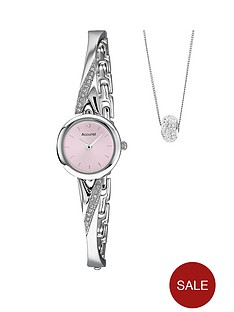 accurist-silver-tone-half-bangle-ladies-watch-and-crystal-pendant-set