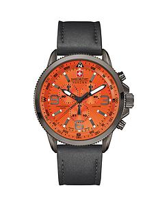 swiss-military-orange-dial-leather-strap-mens-watch