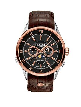 roamer-rose-gold-case-brown-crocodile-strap-mens-watch