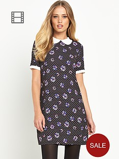 definitions-printed-contrast-collar-shift-dress